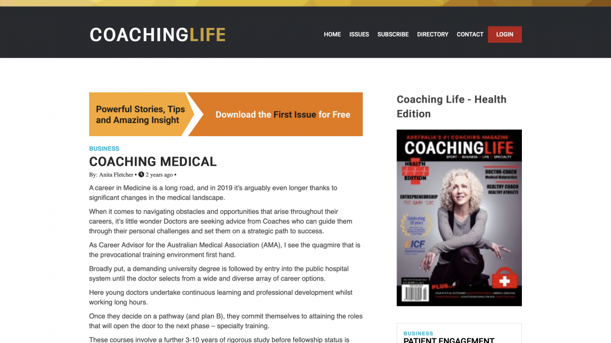 Coaching Life Article by Anita Fletcher